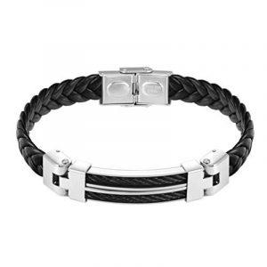 """PROSTEEL Bracelet Tressé en Cuir Véritable avec Fil d'acier Fermoir Métallique Bijoux Cool pour Homme 21cm/8,3"""" de la marque PROSTEEL image 0 produit"""