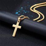 PROSTEEL Collier avec Pendentif Croix Simple 3 Couleurs au Choix Bijoux Religieux pour Homme Femme de la marque PROSTEEL image 3 produit