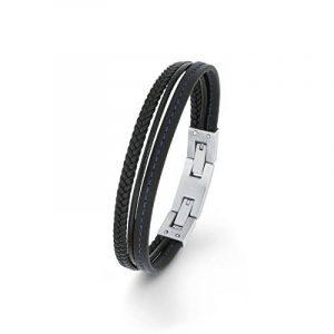 s. Oliver–Bracelet Enfant Teenager garçon 18+ 2cm réglable en acier inoxydable cuir mehrreihig Noir de la marque s.Oliver image 0 produit