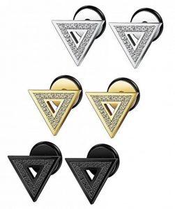 Sailimue 3-4Paires Acier Inoxydable Boucle d'Oreille Triangle pour Homme Femme Piercing Oreille Clou de la marque Sailimue image 0 produit