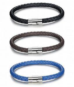Sailimue 3PCS 6MM Acier Inoxydable Bracelet Cuir pour Homme Femme Corde Tressé Bracelet Magnétique Fermoir, 19-21.5CM de la marque Sailimue image 0 produit