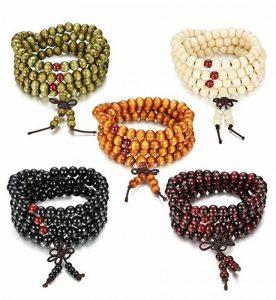 Sailimue 4-5Pcs 8MM Bois Bracelet Boule pour Homme Femme Collier Bouddhiste Chapelet Bracelet Ensemble Elastique de la marque Sailimue image 0 produit