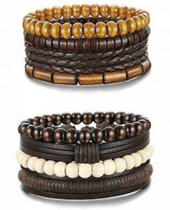 Sailimue 4-8PCS Bracelets Boules Bois pour Homme Femme Bracelet Manchette Cuir Elastique de la marque Sailimue image 0 produit