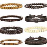Sailimue 4-8PCS Bracelets Boules Bois pour Homme Femme Bracelet Manchette Cuir Elastique de la marque Sailimue image 1 produit