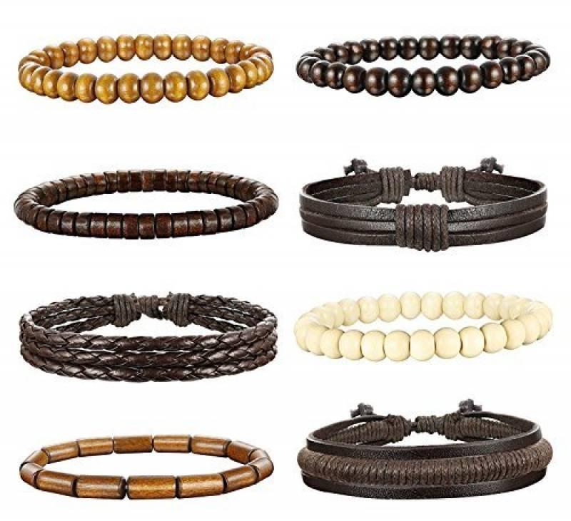 Bracelet homme bois et cuir