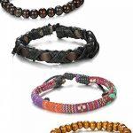 Sailimue 4-8PCS Bracelets Boules Bois pour Homme Femme Bracelet Manchette Cuir Elastique de la marque Sailimue image 2 produit