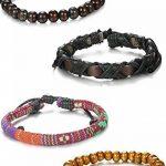 Sailimue 4-8PCS Bracelets Boules Bois pour Homme Femme Bracelet Manchette Cuir Elastique de la marque Sailimue image 4 produit