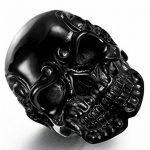 Sailimue Acier Inoxydable Bague pour Homme Femme Tête de Mort Noire Bague Gothique, Taille 57(18.1)-70(22.2) de la marque Sailimue image 2 produit