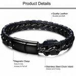 Sailimue Acier Inoxydable Bracelet Cuir pour Homme Bracelet Manchette Tressé avec Fermoir Magnétique de la marque Sailimue image 1 produit