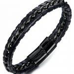 Sailimue Acier Inoxydable Bracelet Cuir pour Homme Bracelet Manchette Tressé avec Fermoir Magnétique de la marque Sailimue image 3 produit