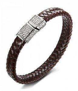 Sailimue Acier Inoxydable Bracelet Cuir pour Homme Bracelet Manchette Tressé Fermoir Magnétique Bracelet Ethnique 19-21.5cm de la marque Sailimue image 0 produit