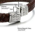 Sailimue Acier Inoxydable Bracelet Cuir pour Homme Bracelet Manchette Tressé Fermoir Magnétique Bracelet Ethnique 19-21.5cm de la marque Sailimue image 1 produit