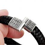 Sailimue Acier Inoxydable Bracelet Cuir pour Homme Bracelet Manchette Tressé Fermoir Magnétique Bracelet Ethnique 19-21.5cm de la marque Sailimue image 2 produit
