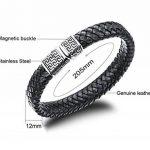 Sailimue Acier Inoxydable Bracelet Cuir pour Homme Bracelet Manchette Tressé Fermoir Magnétique Bracelet Ethnique 19-21.5cm de la marque Sailimue image 3 produit
