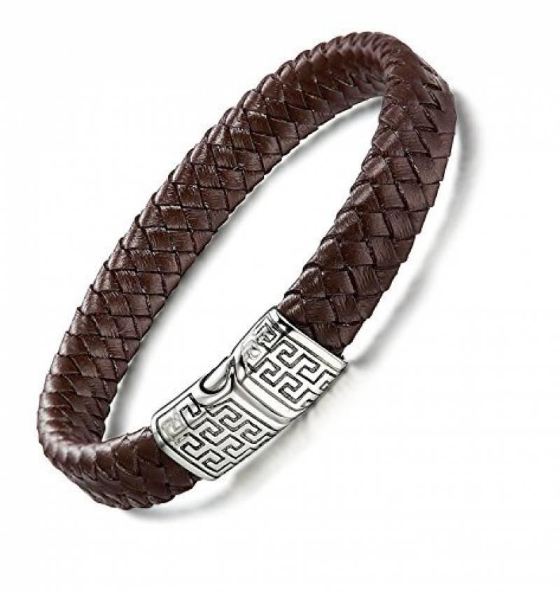 424b692f122 Sailimue Acier Inoxydable Bracelet Cuir pour Homme Bracelet Manchette Tressé  Fermoir Magnétique Bracelet Ethnique 19