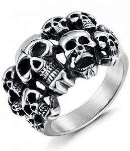 Sailimue Acier Inoxydable Crâne Bague pour Homme Femme Tête de Mort Bague Skull, Taille 57(18.1)-70(22.2) de la marque Sailimue image 0 produit