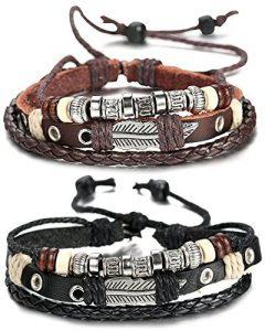 Sailimue Cuir Bracelet pour Homme Tressé Bracelet Ouvert Ajustable, 19-28cm de la marque Sailimue image 0 produit