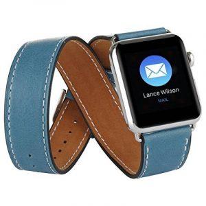 Sanday® Bracelet de remplacement pour montre Apple Watch - Bracelet de luxe double tour, en cuir véritable, avec fermoir adaptateur, pour montres Apple Watch et iWatch de la marque Sanday® image 0 produit