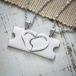 Set de 2 pendentifs avec chaîne - Morceaux de puzzle avec coeur en argent - Personnalisés avec noms - Bijou Best Friends/pour couples - Cadeau bijou pour meilleures amies/couples avec gravure de la marque Gravado image 3 produit