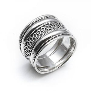 Silverly Femme Homme Bague Argent 925 Rope Scroll travail Bali Thumb 18mm Taille 61.5 de la marque Silverly image 0 produit