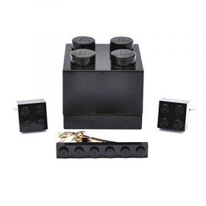 SJP Cufflinks Boîte avec boutons de manchette et pince à cravate en Lego Noir de la marque SJP Cufflinks image 0 produit