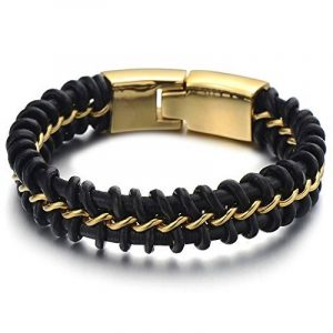 Style Exquis Bracelet en Cuir Entrelacé Hommes - Acier Chaîne Gourmette - Noir Véritable Cuir - Deux tons noir et or de la marque H+C image 0 produit