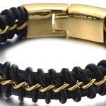 Style Exquis Bracelet en Cuir Entrelacé Hommes - Acier Chaîne Gourmette - Noir Véritable Cuir - Deux tons noir et or de la marque H+C image 2 produit