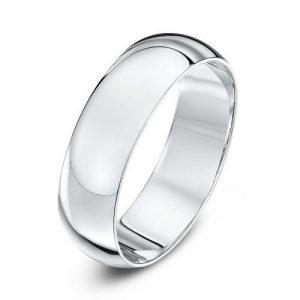 Theia Anneau de mariage unisexe - 9ct Or blanc, Forme Demi Bombée extra lourde, poli de la marque Theia image 0 produit