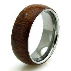 Tioneer Acier inoxydable en bois d'acajou incrusté bombé Anneau de la marque Tioneer image 0 produit