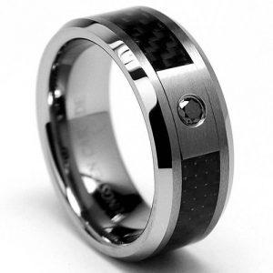 Ultimate Metals Co.8MM Bague Tungstène Avec Diamant Noir et Fibre De Carbone Noir de la marque Ultimate Metals Co. image 0 produit
