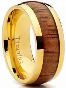 Ultimate Metals Co.® 9MM Bague de mariage en titane or avec incrustation de bois veritable. Pour Homme, Intérieur Confort de la marque Ultimate Metals Co. image 0 produit