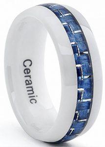 Ultimate Metals Co. Alliance Ceramique Blanche Avec Incruste Fibre de Carbone Bleu Pour Homme de la marque Ultimate Metals Co. image 0 produit