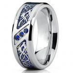 Ultimate Metals Co.® Bague de mariage en Titane avec dragon désign en fibre de carbone bleu et zircone cubique bleu. Pour Homme de la marque Ultimate Metals Co. image 1 produit