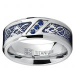 Ultimate Metals Co.® Bague de mariage en Titane avec dragon désign en fibre de carbone bleu et zircone cubique bleu. Pour Homme de la marque Ultimate Metals Co. image 2 produit