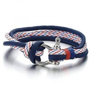 Vis Bracelet Manilles d'ancrage - Homme Femme - Bleu Nautique Marin Sur Cordon Tressé Entrelacé - Envelopper Bracelet de la marque COOLSTEELANDBEYOND image 0 produit