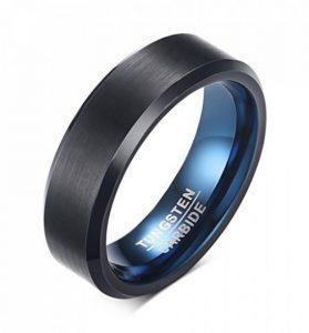 Vnox 6mm Hommes Black tungstène Carbide bande anneau bleu à l'intérieur Bords biseautés pour l'anniversaire de mariage engagement de la marque Vnox image 0 produit