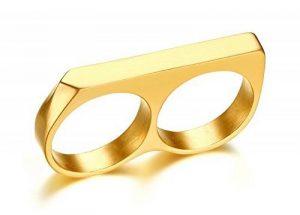 Vnox Acier inoxydable 18K plaqué or Bague à deux doigts Bague de fiançailles de bar minimaliste de la marque Vnox image 0 produit