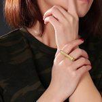 Vnox Acier inoxydable 18K plaqué or Bague à deux doigts Bague de fiançailles de bar minimaliste de la marque Vnox image 5 produit