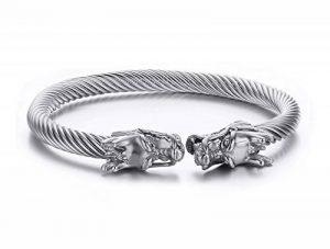 Vnox Acier inoxydable pour hommes Face Dragon Head Fil Viking Cuff Bracelet Argent de la marque Vnox image 0 produit