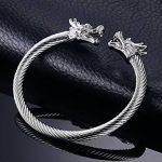 Vnox Acier inoxydable pour hommes Face Dragon Head Fil Viking Cuff Bracelet Argent de la marque Vnox image 4 produit