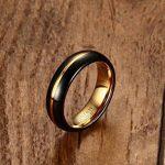 Vnox Hommes Noir Tungstène Carbure Bague de mariage Ring Groove Design 6mm,Or intérieur de la marque Vnox image 2 produit
