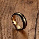Vnox Hommes Noir Tungstène Carbure Bague de mariage Ring Groove Design 6mm,Or intérieur de la marque Vnox image 3 produit