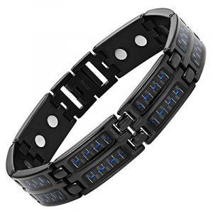 Willis Judd Alliance en titane pour homme Noir/Bleu-Bracelet magnétique en fibre de carbone pour homme avec outil pour retirer des maillons de la marque Willis Judd image 0 produit