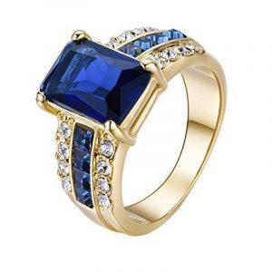 Yoursfs-Bague bleue Unisex Femme Homme-18k plaqué Or-Cristal-Saphir-Cadeau Anniversaire Mariage Fête de la marque Yoursfs image 0 produit