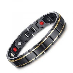 Zamac pour homme en titane magnétique Santé Bracelet en cuir velours noir Boîte cadeau + Gratuit Lien Outil de démontage de la marque ZAMAC image 0 produit