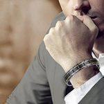 Zamac pour homme en titane magnétique Santé Bracelet en cuir velours noir Boîte cadeau + Gratuit Lien Outil de démontage de la marque ZAMAC image 4 produit
