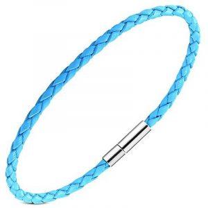 Zense - Bracelet homme fin en cuir tressé de couleur bleue avec fermoir en alliage d'acier ZB0222 de la marque ZENSE image 0 produit